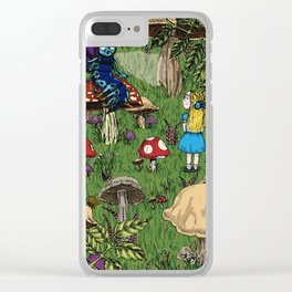 Alice and the caterpillar Clear iPhone Case