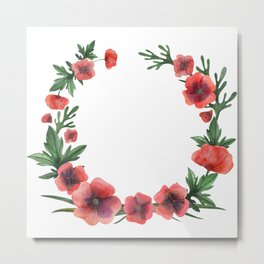Meadow Red Poppies Metal Print