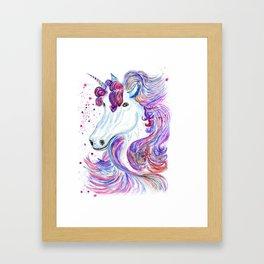 Rainbow unicorn portrait Framed Art Print