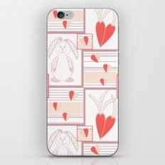 Children pattern with rabbits and hearts. iPhone & iPod Skin