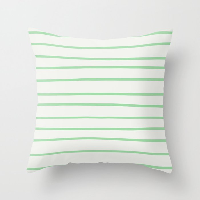 Pastel Green Hand Drawn Line Pattern on Linen White Pairs to 2020 Color of the Year Neo Mint Throw Pillow