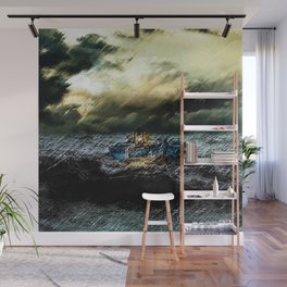 Abandoned Ship on the water portrait Wall Mural