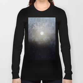 Glowing Moon in the night sky Long Sleeve T-shirt