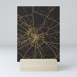 MOSCOW RUSSIA GOLD ON BLACK CITY MAP Mini Art Print