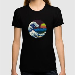 Synthwave Space #9: The Great Wave off Kanagawa T-shirt