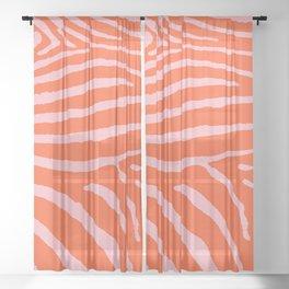 Zebra Wild Animal Print Orange and Pink 241 Sheer Curtain
