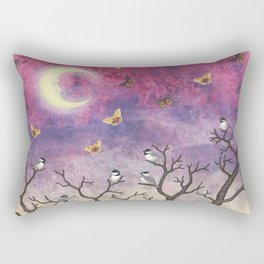 chickadees and io moths in the moonlit sky Rectangular Pillow