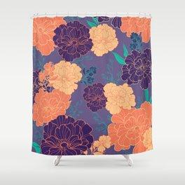 Purple Orange Anemone Shower Curtain