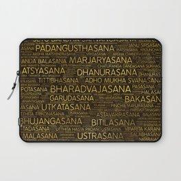 Gold Yoga Asanas / Poses Sanskrit Word Art Laptop Sleeve