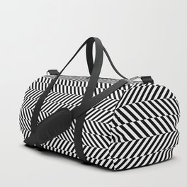 Hypnotic Black and White, Trippy Optical Illusion Vertical & Horizontal Stripe Pattern Duffle Bag