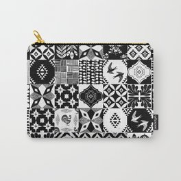 Linocut tiles patchwork quilt pattern black and white decor Carry-All Pouch