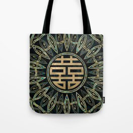 Double Happiness Symbol Gold and Abalone Tote Bag