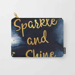 Sparkle And Shine Gold And Black Ink Typography Art Carry-All Pouch