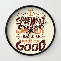 risa rodil Wall Clocks featuring I am up to no good by Risa Rodil