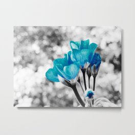 Turquoise FloWERS Pop of Color Metal Print