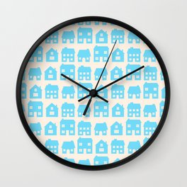 Little Scandi Houses in Blue Wall Clock