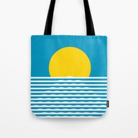 sunrise Tote Bags featuring Sunrise by FLATOWL