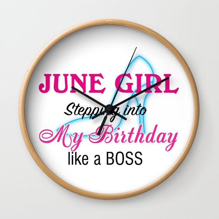 June Girl Birthday Wall Clock
