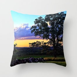 Country sunset - oak tree and stone wall silhouette Throw Pillow