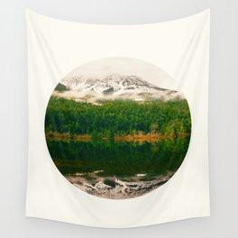 Mid Century Modern Round Circle Photo Graphic Design Reflective Snow Mountain Green Forest Wall Tapestry