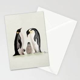 Penguin Family Watercolor Stationery Cards