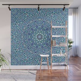 Light Blue Floral Life Mandala Wall Mural