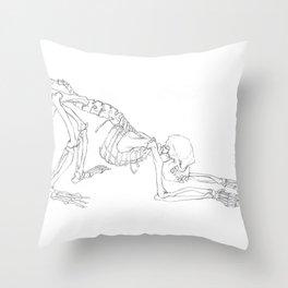 Rhesus Macaque Monkey Skeleton Throw Pillow