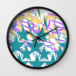 Turquoise Stars & Pastel Streemers Wall Clock