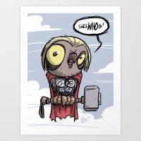 Great THORned Owl Art Print