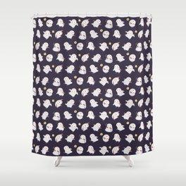Baby Barn Owls - dark Shower Curtain