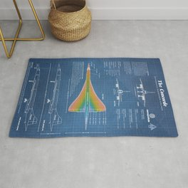 Concorde Supersonic Airliner Blueprint (light blue) Rug