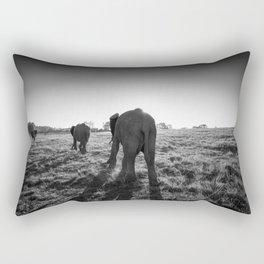 Group of African elephants walking at sunset Rectangular Pillow