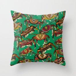 crabs green Throw Pillow