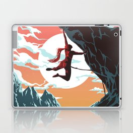 Rock Climbing Girl Vector Art Laptop & iPad Skin