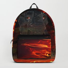 Elephant and a baby elephant in the ring of a burning savanna Backpack