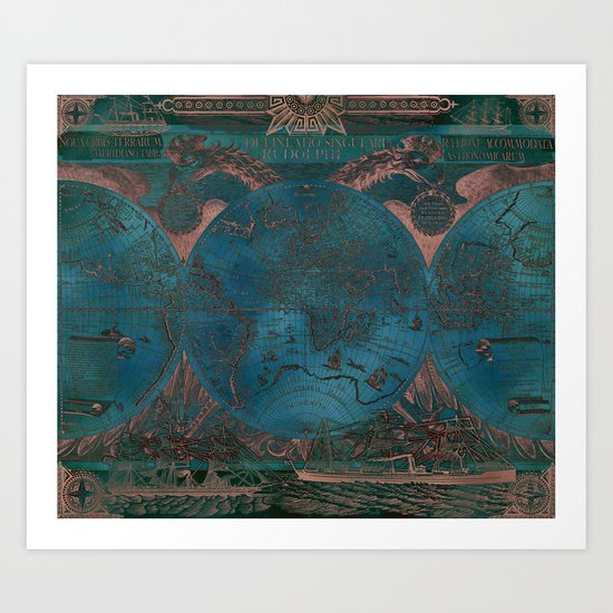 Rose gold and teal antique world map with sail ships by blursbyaishop