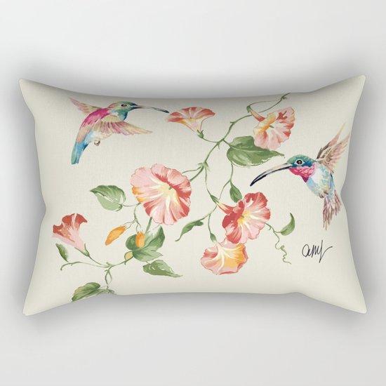 hummingbirds & morning glories Rectangular Pillow