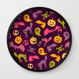 Neon Halloween Pattern - Purple Background Wall Clock