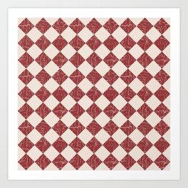 Farmhouse Checkerboard in Brick Red on Cream Art Print