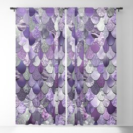 Mermaid Purple and Silver Blackout Curtain