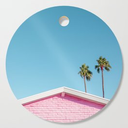 Pink House Roofline with Palm Trees (Palm Springs) Cutting Board