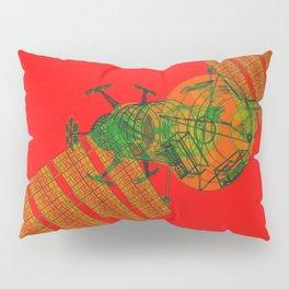 Explorer Schematic Warped Green on Red Pillow Sham