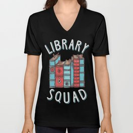 Library Squad, Reading Enthusiast Bookworm T-Shirt Unisex V-Neck