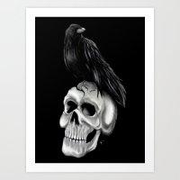 Skull and Raven Art Print