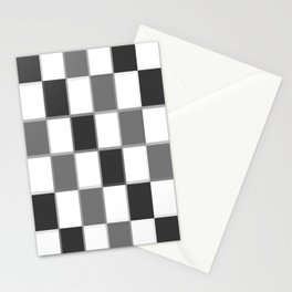 Slate & Gray Checkers / Checkerboard Stationery Cards