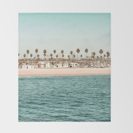 Vintage Newport Beach Print {1 of 4} | Photography Ocean Palm Trees Teal Tropical Summer Sky Throw Blanket