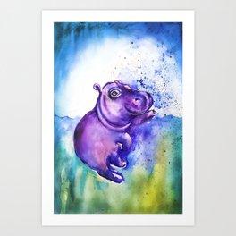 Fiona the Hippo - Splashing around Art Print