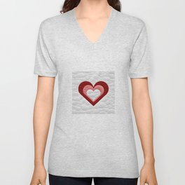 Quilted Red White Pink Simple Heart Design Unisex V-Neck