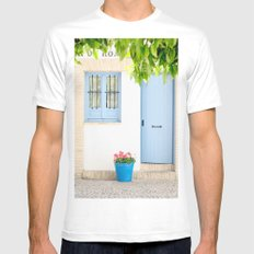 Blue and light White MEDIUM Mens Fitted Tee
