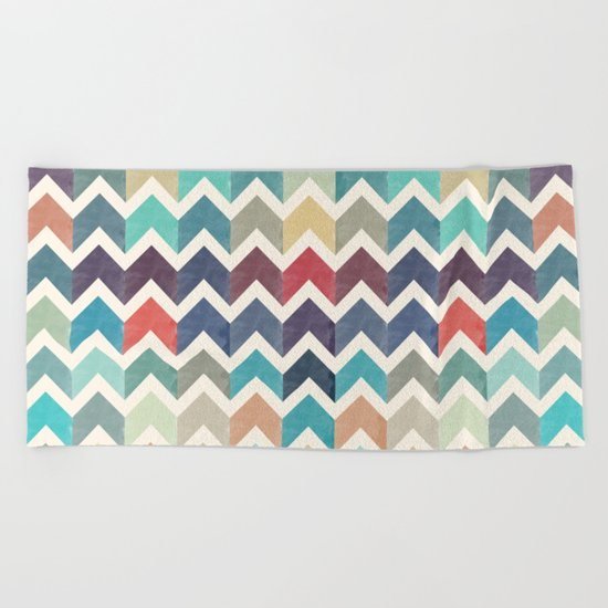 Watercolor Chevron Pattern Beach Towel